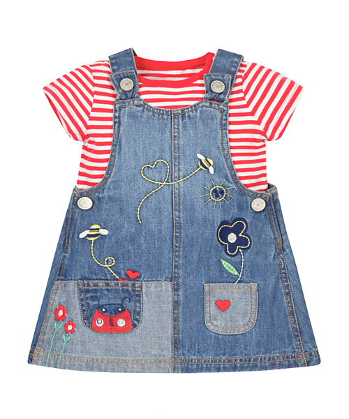 Denim Pinny Dress and T-Shirt Set